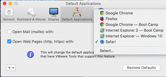 image showing the default application menu of vmware and default application selection
